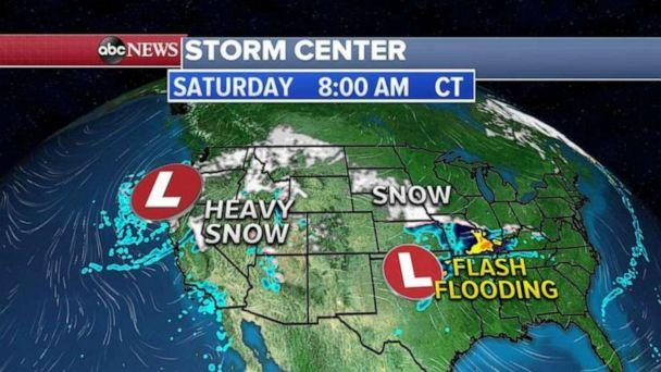 PHOTO: By Saturday, the Southwest storm will move into the Plains with snow to the north and heavy rain and some flash flooding possible in the southern Plains. (ABC News)