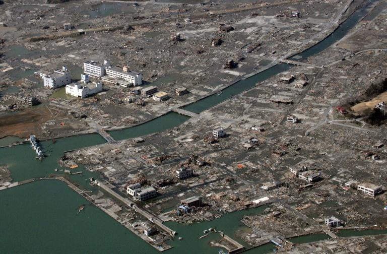 An aerial view taken on March 14, 2011 showing some of the devastation caused by the tsunami
