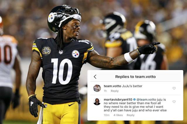 "<p>Displeased with his lack of targets in 2017, Bryant voiced his frustrations on Instagram, replying to a commenter who said Steelers teammate JuJu Smith-Schuster is better. The comment was quickly deleted before Bryant came back with another one, this time singing Smith-Schuster's praises. Click <a href=""https://sports.yahoo.com/martavis-bryant-trashed-juju-smith-schuster-instagram-now-no-show-steelers-facility-182808420.html"" data-ylk=""slk:here;outcm:mb_qualified_link;_E:mb_qualified_link"" class=""link rapid-noclick-resp newsroom-embed-article"">here</a> to read more. </p>"