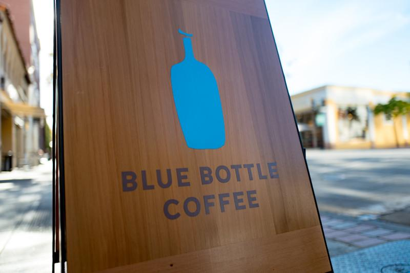 Sign for Blue Bottle Coffee on University Avenue in Palo Alto, California, on Nov. 14, 2017. (Photo: Smith Collection/Gado via Getty Images)