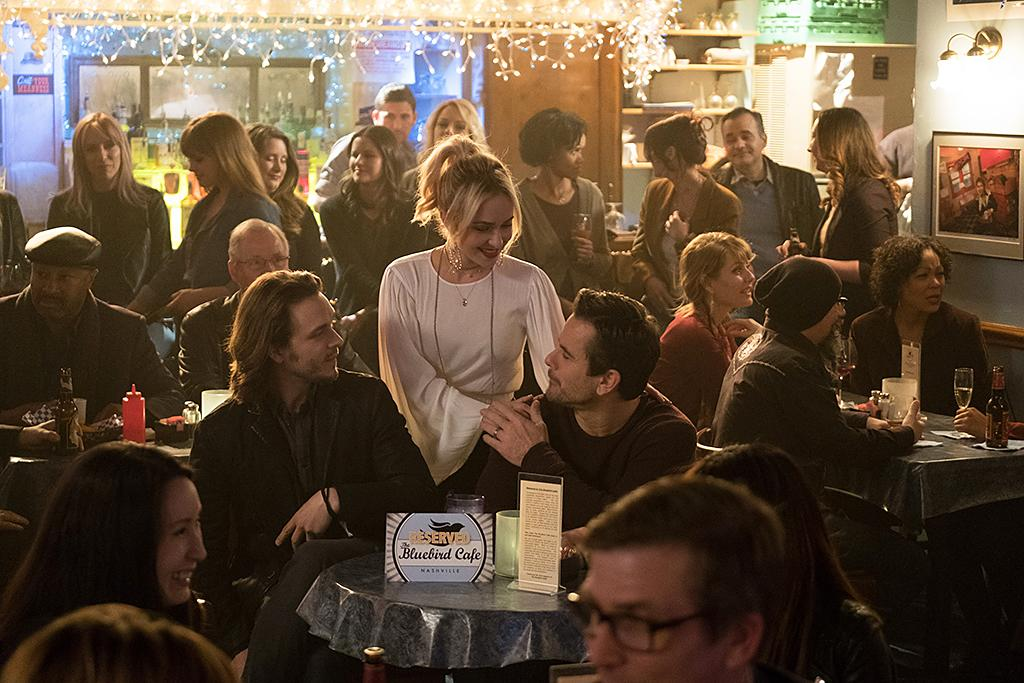 <p>Jonathan Jackson as Avery Barkley, Hayden Panettiere as Juliette Barnes and Charles Esten as Deacon Claybourne in CMT's <i>Nashville</i>.<br /><br />(Photo Credit: Mark Levine/CMT) </p>