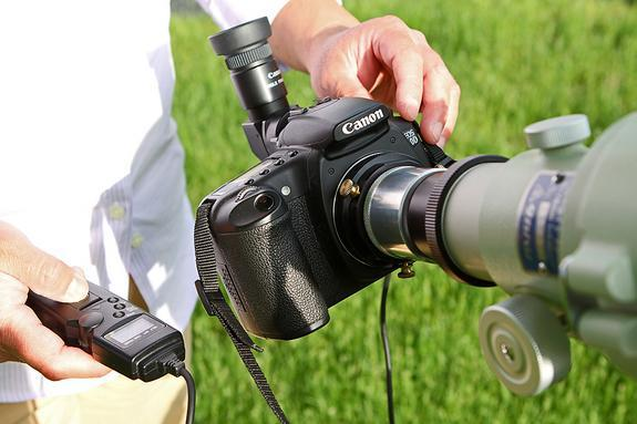 The best way to attach your digital SLR camera to the telescope is to use an appropriate T ring and T adapter for your camera brand. (Check with your local camera retailer.) Other helpful accessories include an electronic cable release to opera