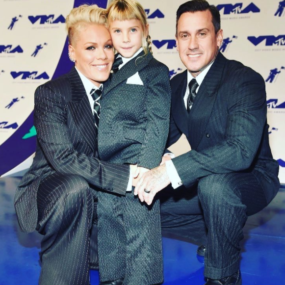 Pink with her daughter Willow Sage Hart, and husband Carey Hart. Source: Getty