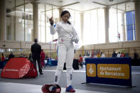"""France chose épée fencer and five-time Olympic medalist Laura Flessel-Colovic to carry the flag in London. We wonder if <a href="""" http://sports.yahoo.com/blogs/olympics-fourth-place-medal/tony-parker-now-says-almost-lost-eye-drake-205635106--oly.html """" data-ylk=""""slk:Tony Parker's fight in a New York bar had anything to do with the decision.;outcm:mb_qualified_link;_E:mb_qualified_link;ct:story;"""" class=""""link rapid-noclick-resp yahoo-link""""> Tony Parker's fight in a New York bar had anything to do with the decision. </a>"""