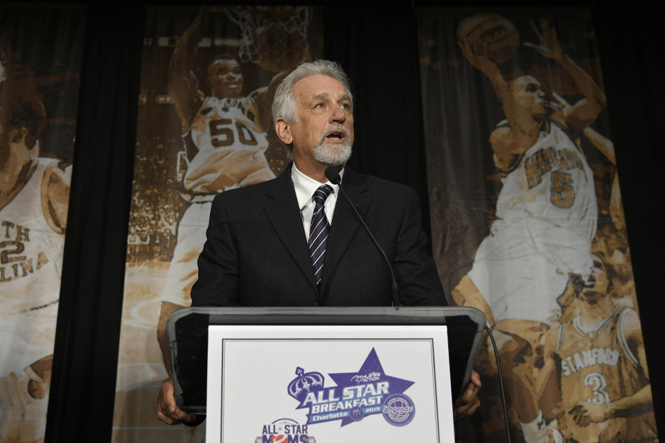 Paul Westphal speaks after receiving the Jerry Colangelo Award at the All Star Breakfast held by the National Basketball Retired Players Association.