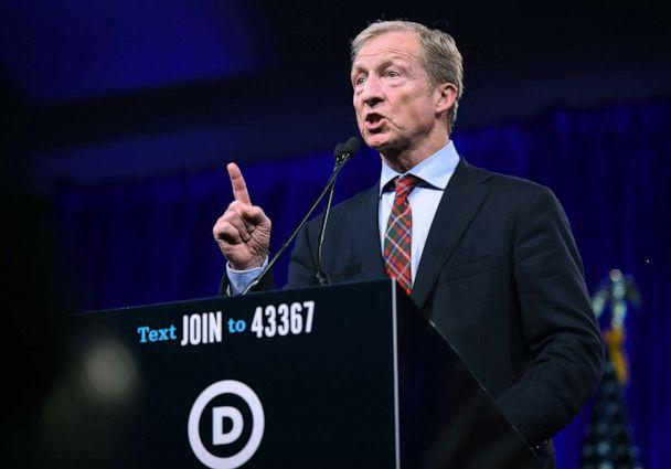 PHOTO: 2020 Democratic presidential hopeful Tom Steyer speaks during the Democratic National Committee's summer meeting in San Francisco, Calif., Aug. 23, 2019. (Josh Edelson/AFP/Getty Images, FILE)