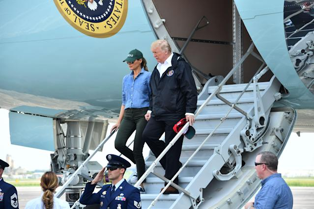 <p>President Donald Trump and First Lady Melania Trump arrive in Ellington Field in Houston on Sept. 2, 2017. (Photo: Nicholas Kamm/AFP/Getty Images) </p>