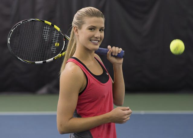 In this Sunday, Dec. 22, 2013 photo, Canadian tennis player Eugenie Bouchard poses for a portrait at Uniprix Stadium in Montreal. Bouchard has won the Bobbie Rosenfeld Award as Canada's female athlete of the year. (AP Photo/The Canadian Press, Graham Hughes)