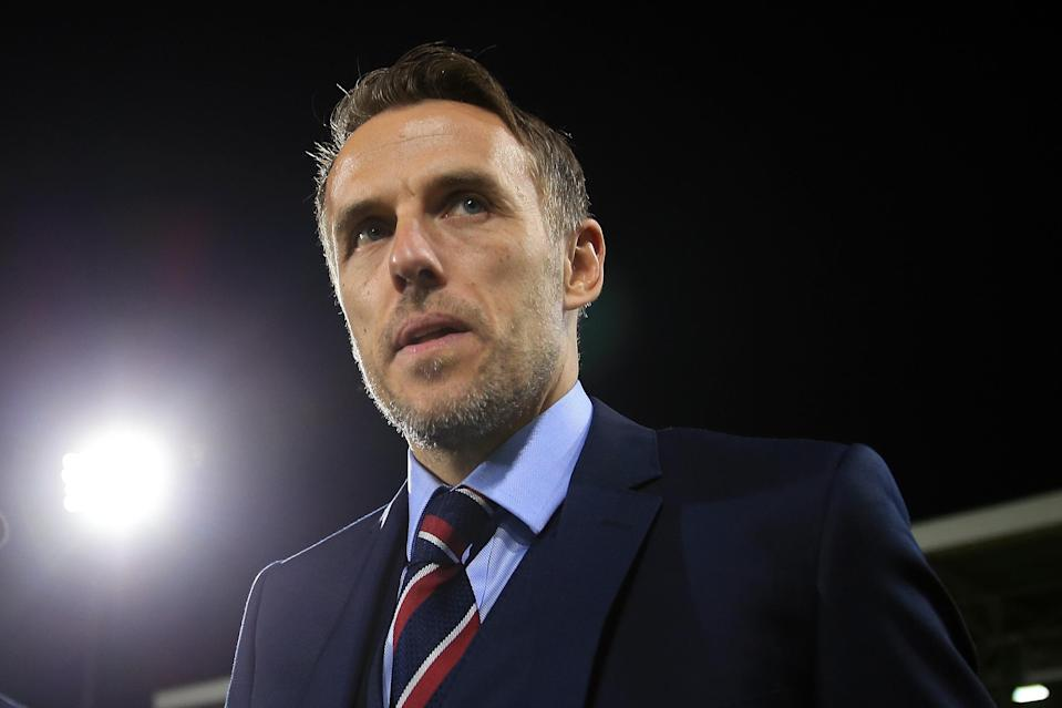 <p>England Women's manager, Phil Neville. </p>
