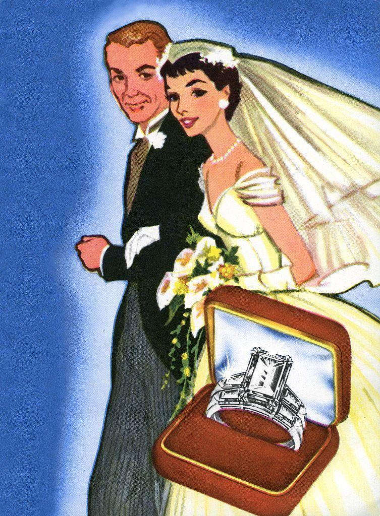 <p>It's no coincidence that the models in this 1950s jewelry ad look identical to JFK and Jackie on their wedding day. Their nuptials reignited an interest in glamour, starting with the popularity of the emerald cut engagement ring. </p>