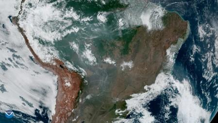 Fires burning in the Amazon Rainforest are pictured from space