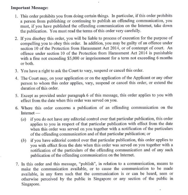 The second page of a court order obtained by blogger Wendy Cheng against SMRT Ltd (Feedback), uploaded to her blog xiaxue.blogspot.sg. [Click for larger version]