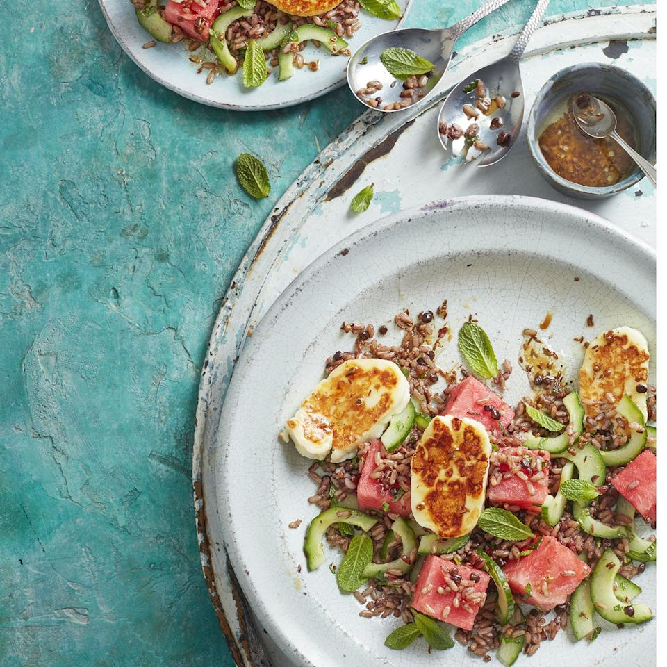 "<p>Refreshing, sweet watermelon marries well with salty halloumi and fragrant mint. Swap the halloumi for feta, if you like, or serve with barbecued lamb.</p><p><a class=""body-btn-link"" href=""https://www.redonline.co.uk/food/recipes/a32612237/halloumi-salad-recipe/"" target=""_blank"">FIND THE RECIPE</a></p>"