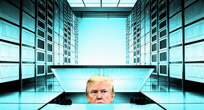 President Donald Trump searches for a computer server. (Photo illustration: Yahoo News; photos: AP, Getty Images)