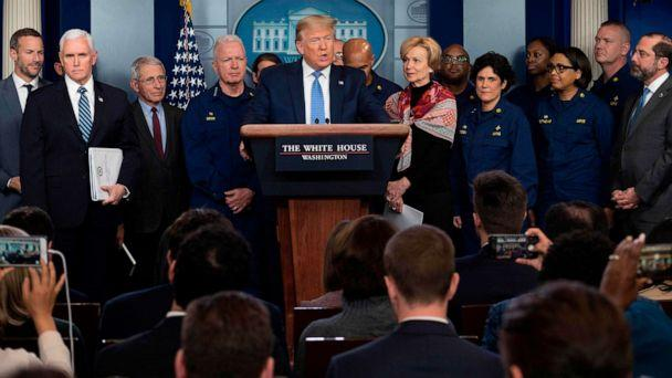 PHOTO: President Donald Trump speaks during a press briefing about the Coronavirus (COVID-19) alongside Vice President Mike Pence and members of the Coronavirus Task Force in the Brady Press Briefing Room at the White House in Washington, March 15, 2020. (Jim Watson/AFP via Getty Images)
