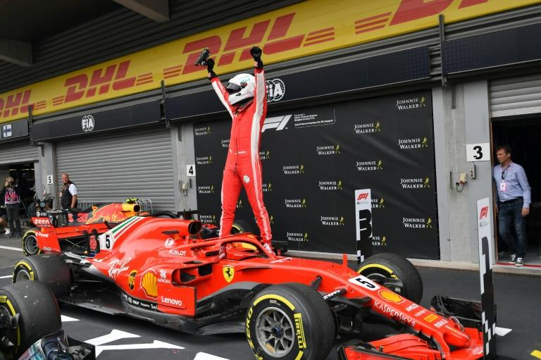 Ferrari's German driver Sebastian Vettel after storming the Belgian Grand Prix