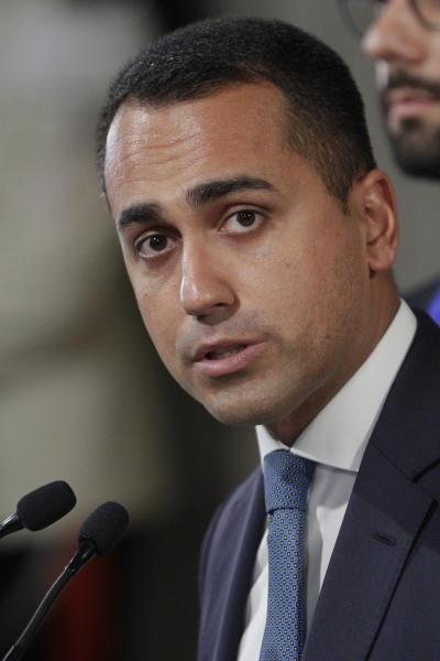 Leader of Five-Star Movement, Luigi Di Maio, talks to journalists after meeting with Italian President Sergio Mattarella at Rome's Quirinale presidential palace, Wednesday, Aug. 28, 2019. Mattarella continued receiving political leaders to explore if a solid majority with staying power exists in Parliament for a new government that could win the required confidence vote. (AP Photo/Andrew Medichini)