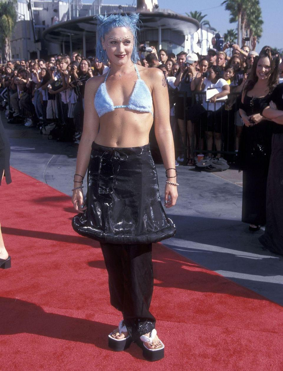 <p>Gwen Stefani made skirt/trousers happen at the 1998 Video Music Awards.</p>