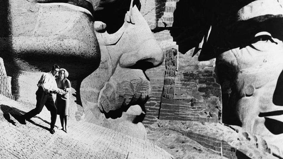 """Cary Grant, Eva Marie Saint during the Mount Rushmore scene in """"North By Northwest"""" - Credit: Courtesy Everett Collection"""