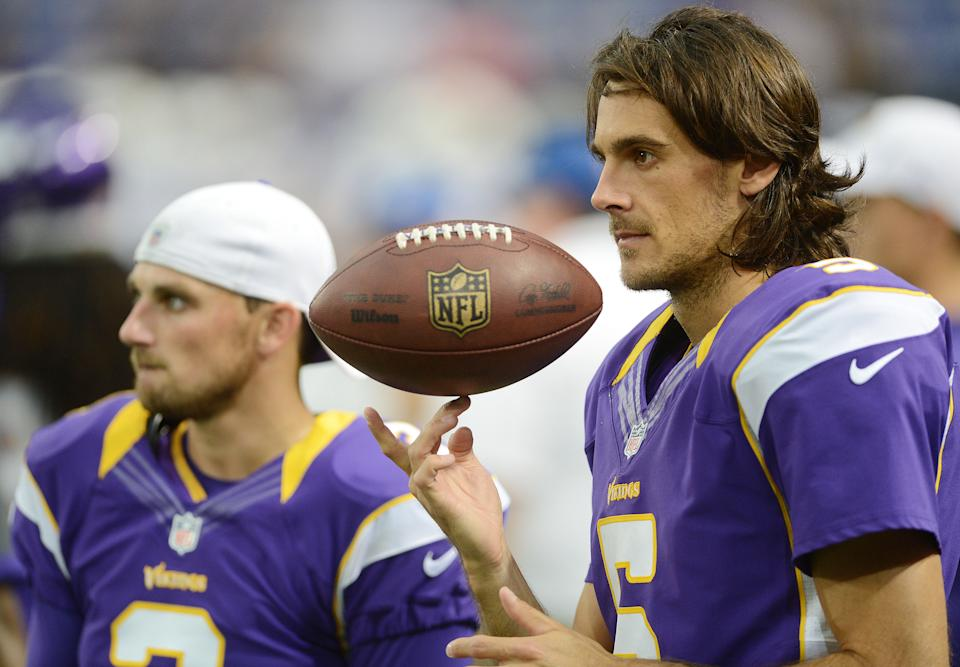 MINNEAPOLIS - AUGUST 24: Chris Kluwe #5 of the Minnesota Vikings watches from the sidelines during an NFL game against the San Diego Chargers at Mall of America Field at the Hubert H. Humphrey Metrodome on August 24, 2012 in Minneapolis, Minnesota.  (Photo by Tom Dahlin/Getty Images)