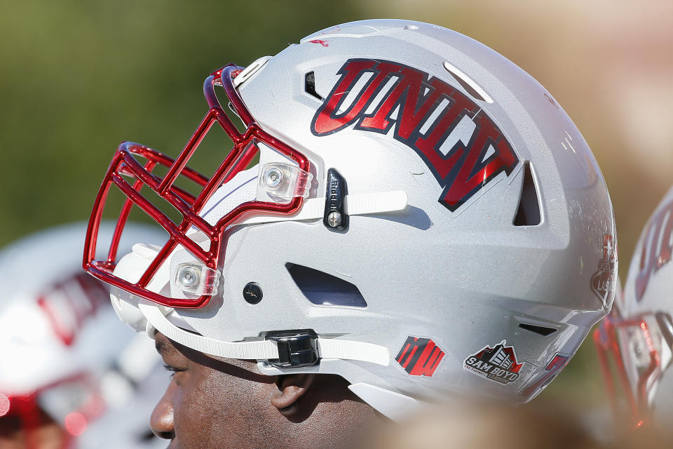 NASHVILLE, TENNESSEE - OCTOBER 12:  A close up of a helmet of the UNLV Rebels during the first half of a game against the Vanderbilt Commodores at Vanderbilt Stadium on October 12, 2019 in Nashville, Tennessee. (Photo by Frederick Breedon/Getty Images)
