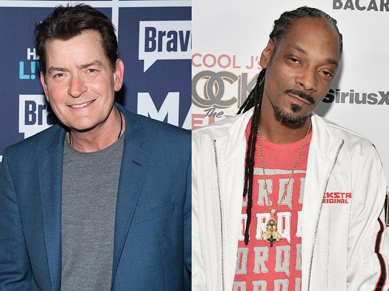 Charlie Sheen and Snoop Dogg observe 4/20. (Photo: Getty Images)