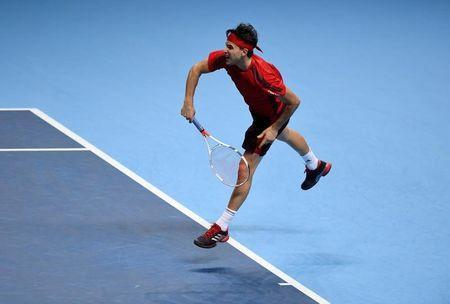 Tennis - ATP World Tour Finals - The O2 Arena, London, Britain - November 17, 2017 Austria's Dominic Thiem in action during his group stage match against Belgium's David Goffin Action Images via Reuters/Tony O'Brien