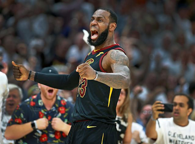 LeBron James' huge performance pushed the Cavs past the Celtics on Friday night. (Getty)