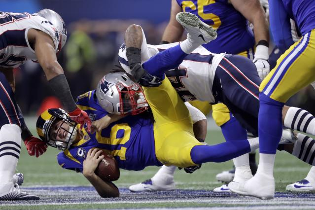 Dont'a Hightower and the Patriots hammered the Rams' Jared Goff throughout Super Bowl LIII. (AP)