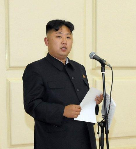 "Image provided by KCNA via KNS in August shows North Korean leader Kim Jong-Un delivering a speech. ""I express my deep condolences to widow Han Hak Ja and the bereaved family upon receiving the sad news that Moon Sun Myung... died of illness,"" Kim's message read"