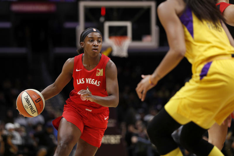 LOS ANGELES, CALIFORNIA - AUGUST 01: Guard Jackie Young #0 of the Las Vegas Aces handles the ball in the game against the Los Angeles Sparks at Staples Center on August 01, 2019 in Los Angeles, California. NOTE TO USER: User expressly acknowledges and agrees that, by downloading and or using this photograph, User is consenting to the terms and conditions of the Getty Images License Agreement. (Photo by Meg Oliphant/Getty Images)