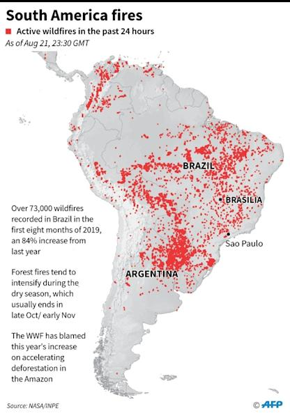 Map of South America, showing wildfires, active in the past 24 hours as of Aug 21, 23:30 GMT