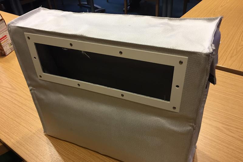 Arson-proof: the letterboxes capture fluid or accelerant poured through the flap in a fire-retardant bag: London Fire Brigade