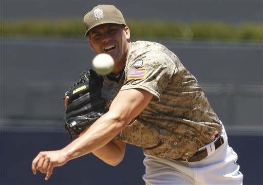 San Diego Padres starting pitcher Clayton Richard works against the San Francisco Giants during the first inning of a baseball game Sunday, Aug. 19, 2012 in San Diego. (AP Photo/Lenny Ignelzi)