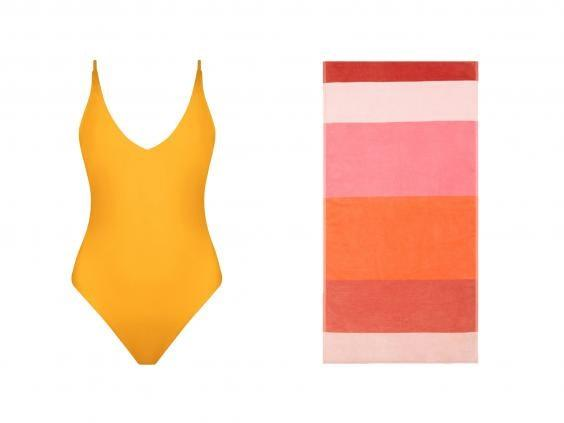 If you're heading somewhere sunny, make sure you're kitted out in eco-friendly swimwear and bright beach towels (left, Kamba, right John Lewis & Partners)