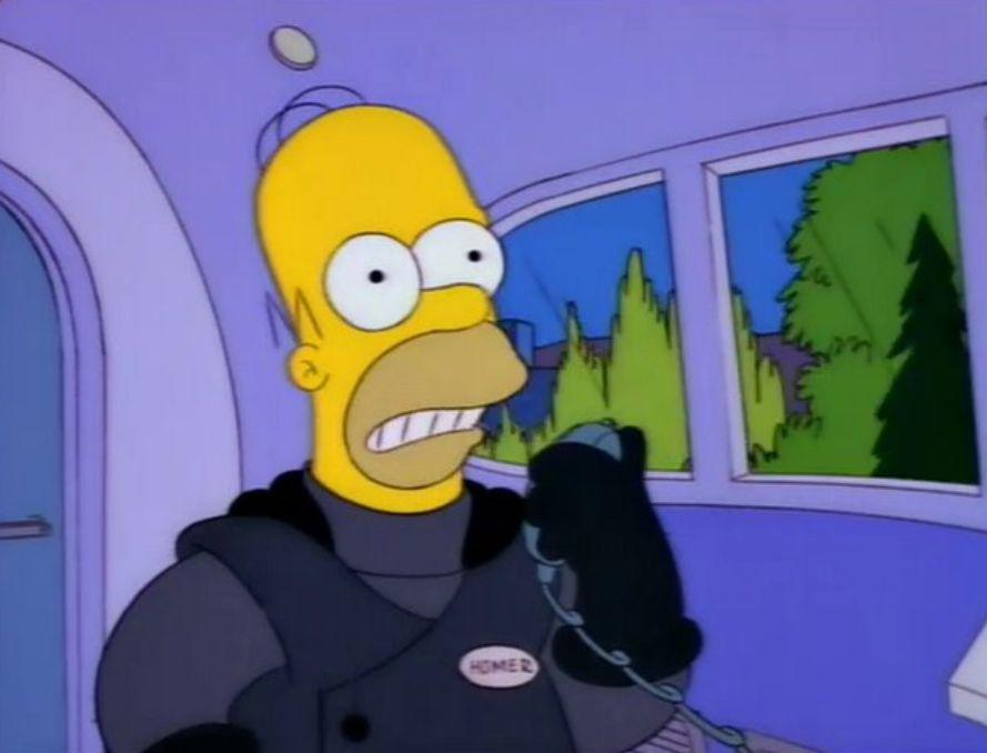 Homer during his first (and last) ride at the helm of the monorail (Photo: Fox)