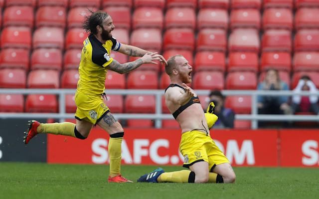 "Soccer Football - Championship - Sunderland v Burton Albion - Stadium of Light, Sunderland, Britain - April 21, 2018 Burton Albion's Liam Boyce celebrates scoring their second goal Action Images/Lee Smith EDITORIAL USE ONLY. No use with unauthorized audio, video, data, fixture lists, club/league logos or ""live"" services. Online in-match use limited to 75 images, no video emulation. No use in betting, games or single club/league/player publications. Please contact your account representative for further details."