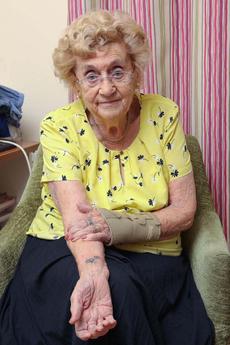 Hilda West, 94, shows off her tattoos (Picture: SWNS)