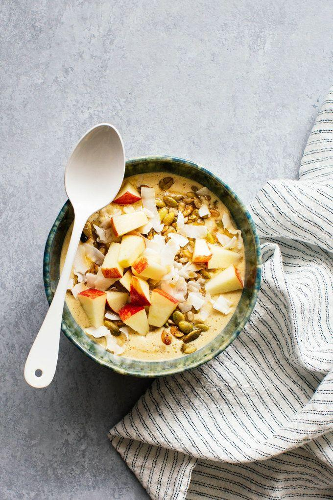 """<strong>Get the <a href=""""http://www.kitchenkonfidence.com/2015/09/spiced-apple-and-oatmeal-smoothie-bowl-recipe"""" target=""""_blank"""">Spiced Apple and Oatmeal Smoothie Bowl recipe</a>from Kitchen Konfidence</strong>"""
