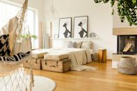 <p> It's no surprise that art is a great way to jazz up bare walls, and you bet you can do this with the wall behind your bed. Whether it's two pieces or one solid piece that grabs your attention, framed art is never a bad way to go.</p>
