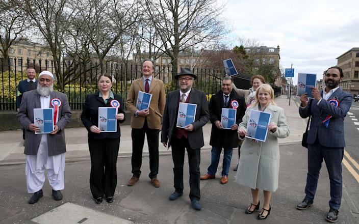 George Galloway with supporters and candidates during the launch of the Alliance 4 Unity party's manifesto - Andrew Milligan/PA