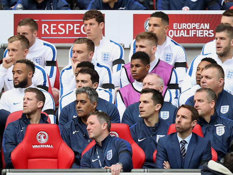 Ross Barkley (back-row centre) has to sit out another England match after being left on the bench: Rex