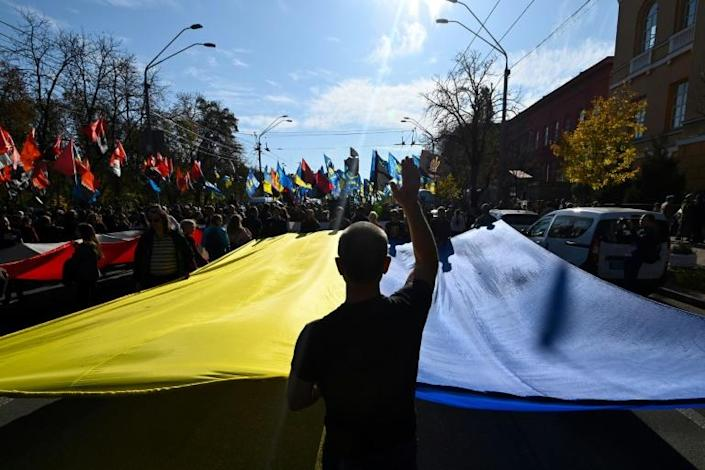 Ukrainian nationalist demonstrators called for victory in the five-year war against Moscow-backed separatists (AFP Photo/GENYA SAVILOV)