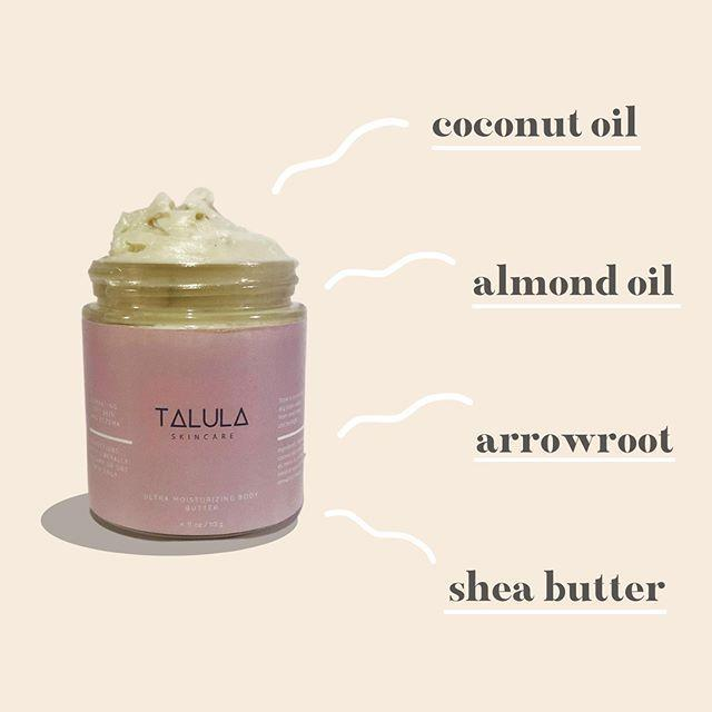 """<p>If you've got dry skin, sensitive skin, or <a href=""""https://www.cosmopolitan.com/style-beauty/beauty/g7665057/best-eczema-products/"""" rel=""""nofollow noopener"""" target=""""_blank"""" data-ylk=""""slk:eczema"""" class=""""link rapid-noclick-resp"""">eczema</a>, this is the Black-owned skincare brand for you. Alexis Richardson created Talula Skincare products with all-natural ingredients (like coconut oil and shea butter) to help soothe, moisturize, and nourish irritated skin.</p><p> <strong>✨ Must-try product: </strong><a href=""""https://go.redirectingat.com?id=74968X1596630&url=https%3A%2F%2Fwww.etsy.com%2Flisting%2F721084432%2Fultra-moisturizing-body-butter%3Fref%3Dshop_home_feat_1&sref=https%3A%2F%2Fwww.cosmopolitan.com%2Fstyle-beauty%2Fbeauty%2Fg33970294%2Fblack-owned-skincare-brands%2F"""" rel=""""nofollow noopener"""" target=""""_blank"""" data-ylk=""""slk:Ultra-Moisturizing Body Butter"""" class=""""link rapid-noclick-resp"""">Ultra-Moisturizing Body Butter</a></p><p><a href=""""https://www.instagram.com/p/CEmtiA4AN9c/?utm_source=ig_embed&utm_campaign=loading"""" rel=""""nofollow noopener"""" target=""""_blank"""" data-ylk=""""slk:See the original post on Instagram"""" class=""""link rapid-noclick-resp"""">See the original post on Instagram</a></p>"""