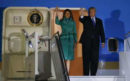 U.S. President Trump and First Lady Melania Trump arrive at Warsaw military airport in Warsaw