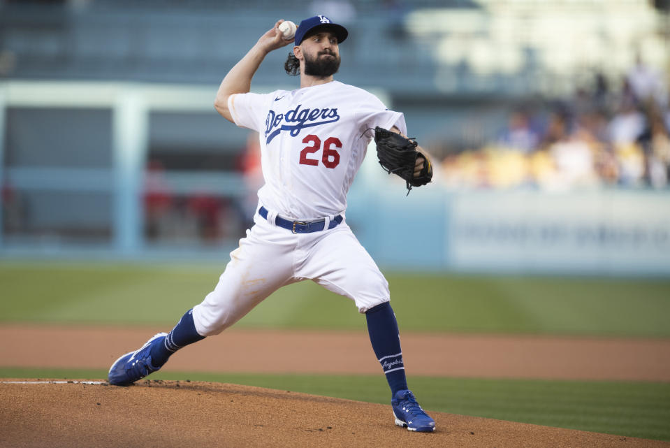 Los Angeles Dodgers starting pitcher Tony Gonsolin delivers during the first inning of a baseball game against the Philadelphia Phillies in Los Angeles, Monday, June 14, 2021. (AP Photo/Kyusung Gong)