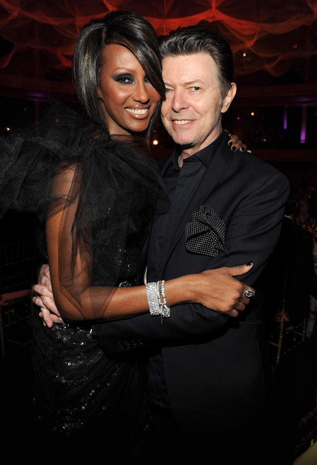 Iman and David Bowie in NYC in 2009. (Photo: Kevin Mazur/WireImage)