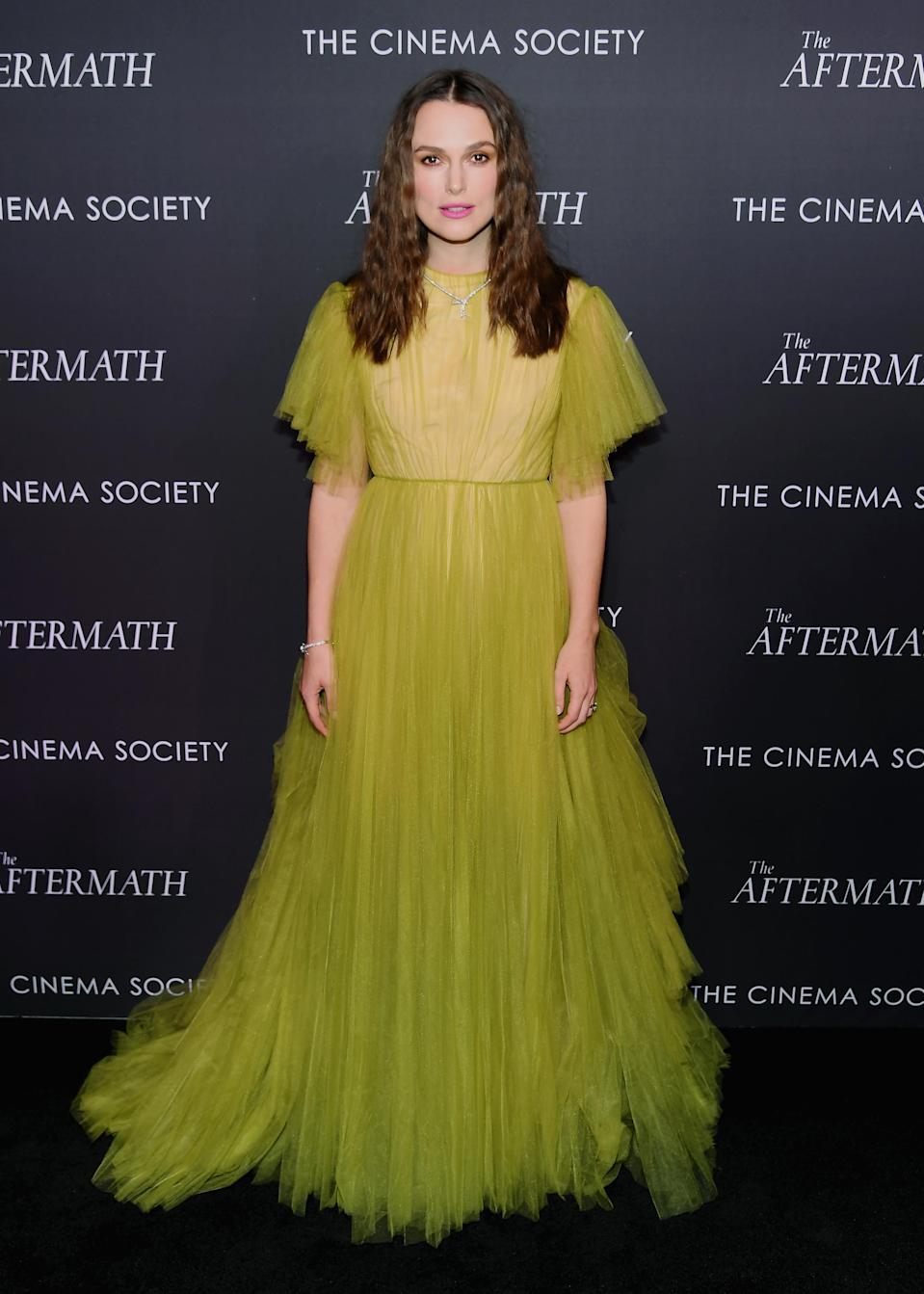 <p>The British starlet stuck to her signature style and arrived at the screening wearing a princess-worthy tulle gown by Valentino. <em>[Photo: Getty]</em> </p>