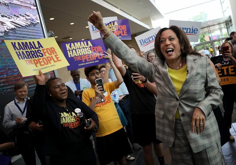 Sen. Kamala Harris, D-Calif., celebrates with supporters. (Photo: Win McNamee/Getty Images)