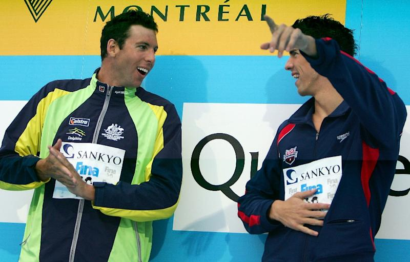 Swimming legends Michael Phelps (R) and Grant Hackett have been training together and swapping tips as they target 2016 Rio Olympics (AFP Photo/Al Bello)